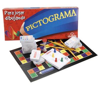 Juego de mesa Pictography,  donde por medio de sencillos dibujos y trazos se deben adivinar palabras en 1 minuto. Para más de 3 jugadores,  para 11 años o más.
