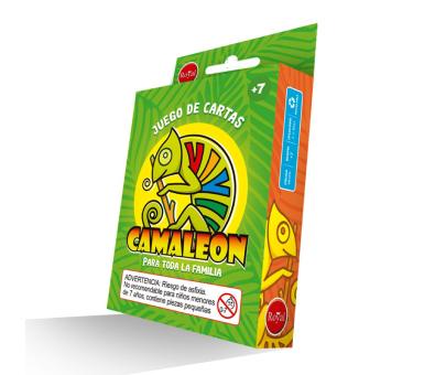 Juego de caja Camaleón, Contiene 112 naipes. Para niños de 8 años o más. Pueden participar de 2 a 10 jugadores.