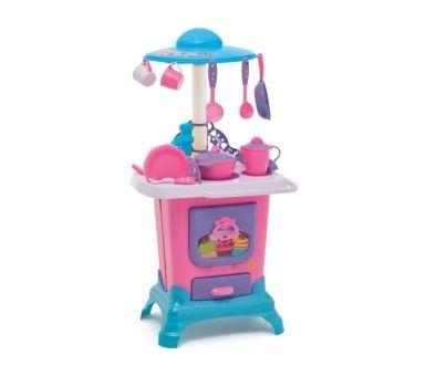 CALESITA. Cocina rosa con cocina a leña horno y pileta. Medidas: 45 x  32,5 x 84,5 cm. Recomendado para niños mayores de 3 años.