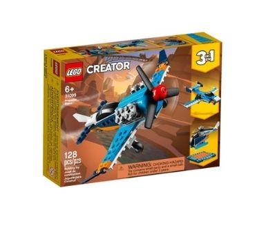 LEGO Avión de helice 3 en 1.  Contiene: 128 piezas. Recomendado para niños mayores de 6 años.