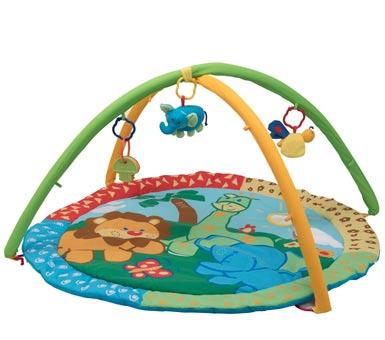 Juguete, gimnasio para bebe con sonajeros. Habilidades sensoriales y motrices.