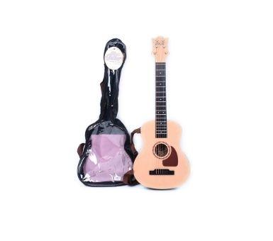 Guitarra simil madera en estuche para niño. Medidas: 29 x 80 x 7 cm.