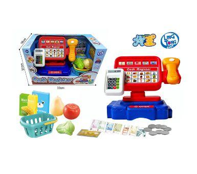 Caja registradora con calculadora de verdad, luz y sonidos. Incluye productos. Funciona con 2 pilas  AA no incluidas
