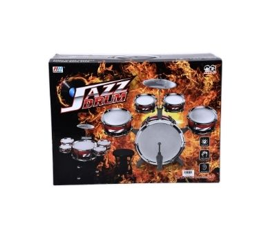 Bateria de 5 tambores, platillos y banco en caja. Medidas: 47 x 35 x 19,5 cm.