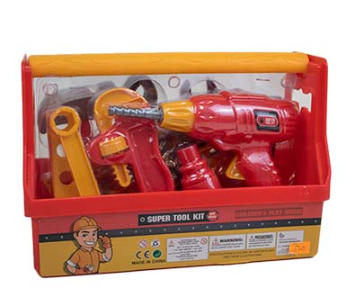 Caja de Herramientas de juguete. Medidas: 27 cm de ancho x 20 cm de alto y 15 cm de profundidad. En PVC, contiene 20 piezas. Color Roja. Recomendado para niños mayores de 3 años.