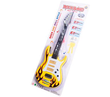 Guitarra Rockband 53 cm con luz y sonidos  Funciona con 3 pilas AA no incluidas.