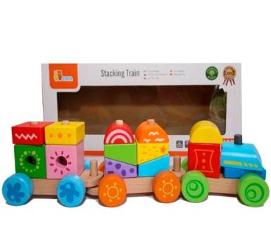 Tren apilable colorido. Contiene 14 píezas de bloques intercambiables con terminado de madera maciza de alta calidad. Medidas: 16 x 37 x 8 cm.