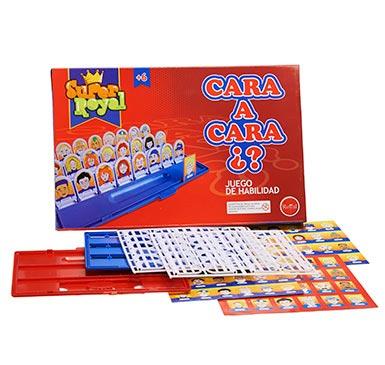 CARA a CARA, juego de habilidad, el objetivo es encontrar el personaje misterioso. Contiene 48 tarjetas fotos en su propio marco. Para niños de 6 años o más. Cantidad de jugadores 6.