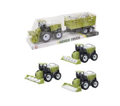 Tractor a fricción en PVC con carro y 2 animalitos