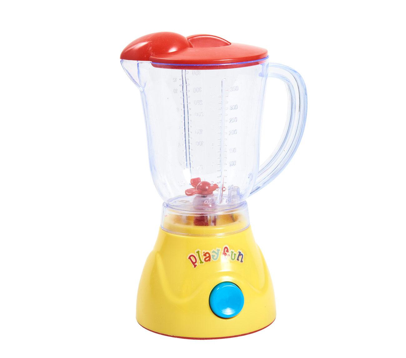 Juguete. Licuadora Juguera  con funciones y sonidos, Incluye: 1 licuadora 1 vaso y 3 frutas. Medida: 20 cm de alto. Pilas no incluidas. Recomendada para + de 3 años.