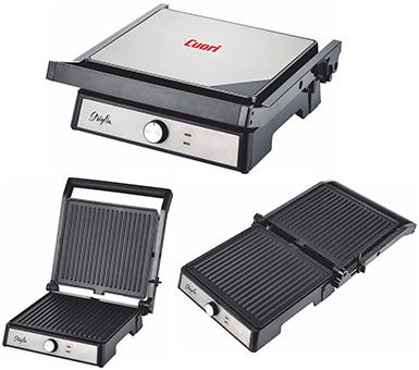 Multi grill Cuori. Modelo: Combi- Grill.  Potencia 1900 W. Apertura 180 grados. Doble selector de temperatura independientes. Placas reversibles y extraibles antiadherentes. 4 posiciones de asar. Tamaño de placas, 33 x 24 cm. Incluye 2 depositos para jugos.