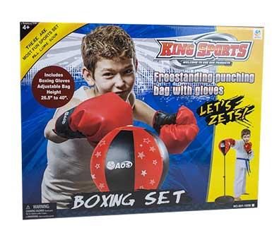 Set de Boxeo. Incluye: guantes y bolsa. Altura ajustable de 80 a 110 cm. Base: 13,5 a 34,5 cm.