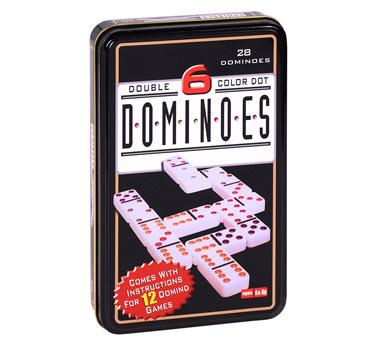 Dominó clásico para 4 o más jugadores. Incluye 28 piezas y práctica lata para guardar. Recomendado a partir de 6 años.