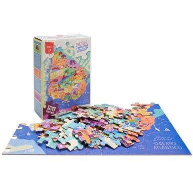 Juego de caja puzzle, Conociendo Uruguay, 120 piezas Ilustración del mapa de Uruguay y sus departamentos con algunas de las características más representativas de cada uno Tamaño: 60 x 48 cm,  Tamaño de las piezas: 5 x 5 cm  Recomendado  mayores 6 años