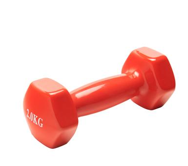 Pesa- Mancuerna Forradas en PVC 2 kilos. Su forma evita que ruede por el suelo.