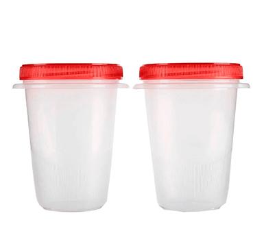 Rubbermaid. Set de 2 viandas plásticas para líquidos de 946 ml. Altura 15 cm. Sello a prueba de derrames con cierre de rosca.