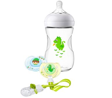 Set natural Avent. Fácil de combinar con la lactancia materna. Incluye: biberón natural capacidad 260 ml con tetina de flujo lento. chupete y clip porta chupete.Motivo: Dragón Bebé