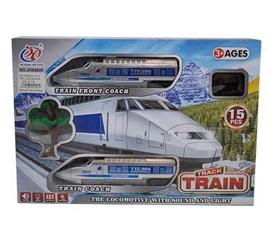 Tren eléctrico con luz y sonido. Funciona con 3 pilas AA no incluidas