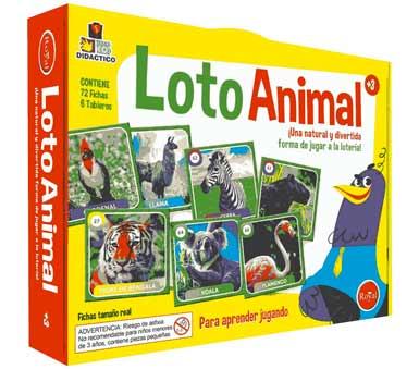 Juego Loto Animal. Marca: Royal. Una natural y divertida forma de jugar  a la lotería. Contiene 6 tableros y 72 fichas. Recomendado para niños a partir de 3 años.