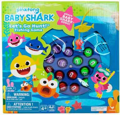 Juego de pescar. Contiene: 1 tablero de juego motorizado a pilas AA (no incluidas), 15 peces, 4 cañas de pescar, 1 guía de instrucciones. De 2 a 4 jugadores. Recomendado para niños mayores de 4 años.