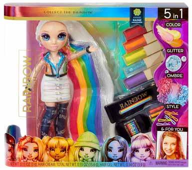 Juguete, Muñeca Raimbow, Crea un hermoso pelo de arcoíris para ti y tu muñeca. Color de pelo lavable para niños, Contiene: Muñeca exclisiva Amaya Raine articulada, traje, botas, pendientes, 4 cremas de color para el cabello, gel de pelo con purpurina, tiza para pelo, cepillo, 5 horquillas y soporte para muñeca. Medidas: 30 x 30 cm. Recomendada para + de 4 años.