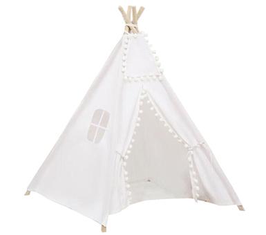 Carpa Tipi Blanca. Tela: lienzo. Estructura: madera (largo 1.60 cm) Incluye: regulador/fijador de apertura No incluye: accesorios. Medidas: 1.30 x 1.20 cm.