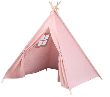 Carpa Tipi rosada, tela : lienzo, estructura : madera  (largo 1.6 mts) inclye : regulador/fijador de apertura, no incluye accesorios, Medidas: 1.3X 1.2 mts