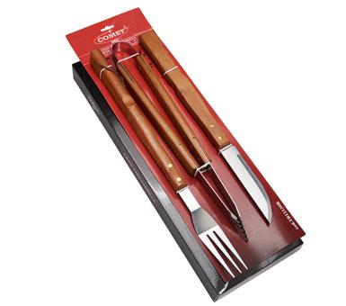 Juego de parrilla marca Comet. Compuesto por 3 piezas. Mangos de madera, acero inoxidable de alta calidad.